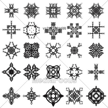 Set Of Different Tribal Rosettes Tattoo Design Isolated On White Background. Polynesian Design Stock Photo