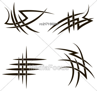 Set Of Different Tribal Tattoo Design Isolated On White Background. Polynesian Design Stock Photo