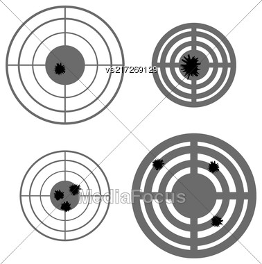 Set Of Different Using Targets Isolated On White Background Stock Photo