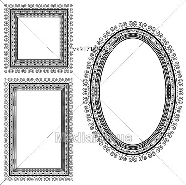Set Of Different Vintage Frames Isolated On White Background Stock Photo