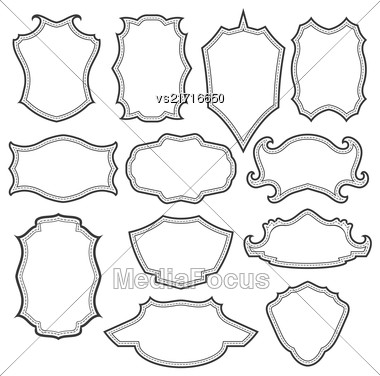 Set Of Different Vintage Grey Frames Isolated On White Background Stock Photo