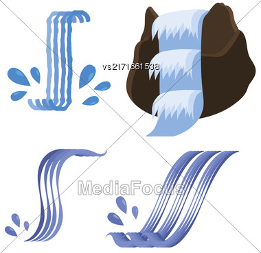 Set Of Different Waterfalls Icons Isolated On White Background Stock Photo