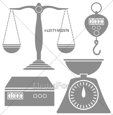 Set Of Different Weighind Scales Icons Isolated On White Background Stock Photo