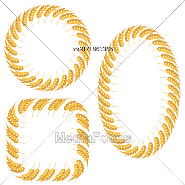 Set Of Different Wheat Frames Isolated On White Background Stock Photo