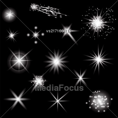 Set Of Different White Lights Isolated On Black Background Stock Photo