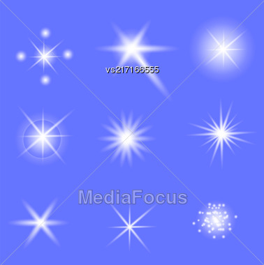 Set Of Different White Lights Isolated On Blue Background Stock Photo