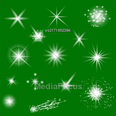 Set Of Different White Lights Isolated On Green Background Stock Photo