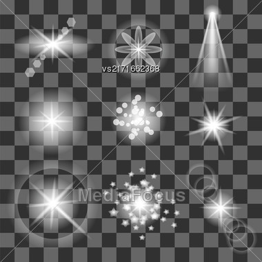 Set Of Different White Lights Isolated On Grey Checkered Background Stock Photo