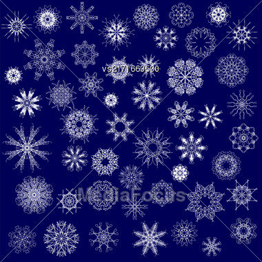 Set Of Different Winter Snowflakes Isolated On Blue Background Stock Photo