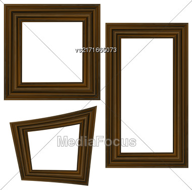 Set Of Different Wooden Frames Isolated On White Background Stock Photo