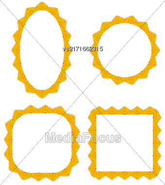 Set Of Different Yellow Frames Isolated On White Background Stock Photo