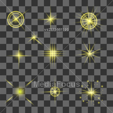 Set Of Different Yellow Lights Isolated On Gray Checkered Background Stock Photo