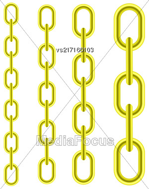 Set Of Different Yellow Metal Chains Isolated On White Background Stock Photo