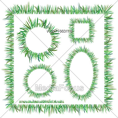 Set Of Diggerent Green Grass Frames Isolated On White Background Stock Photo