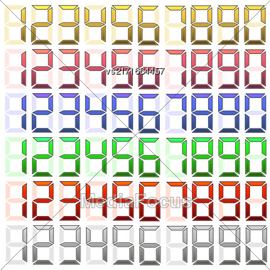 Set Of Digital Numbers Isolated On White Background Stock Photo
