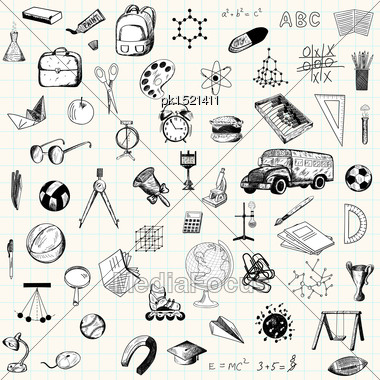 Set Of Doodle Education Icons On Checkered Paper Sheet Stock Photo