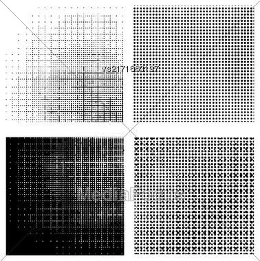 Set Of Dotted Textures On White Background. Halftone Pattern Collection Stock Photo