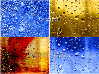 Set Dripped Water On Abstract Background Stock Photo