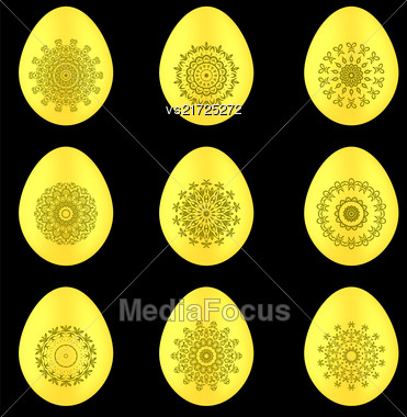 Set Of Easter Eggs With Different Ornaments Isolated On Black Background Stock Photo