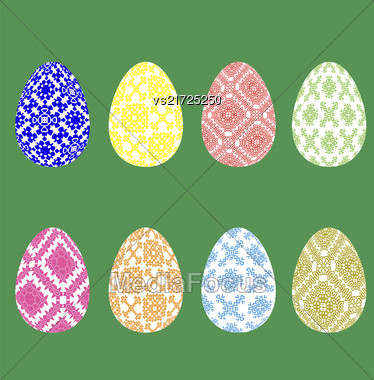 Set Of Easter Eggs With Different Ornaments Isolated On Green Background Stock Photo