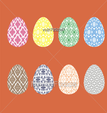 Set Of Easter Eggs With Different Ornaments Isolated On Red Background Stock Photo