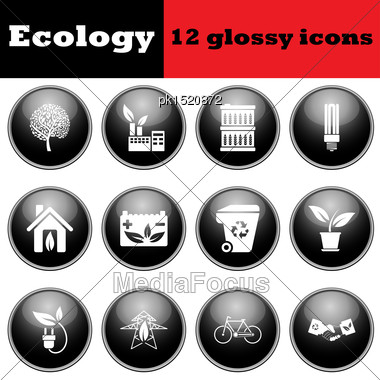 Set Of Ecological Glossy Icons. EPS 10 Vector Illustration Stock Photo