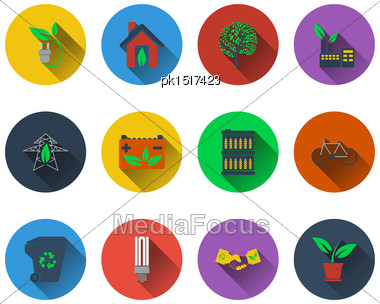 Set Of Ecological Icons In Flat Design. EPS 10 Vector Illustration With Transparency Stock Photo