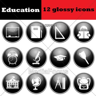 Set Of Education Glossy Icons. EPS 10 Vector Illustration Stock Photo