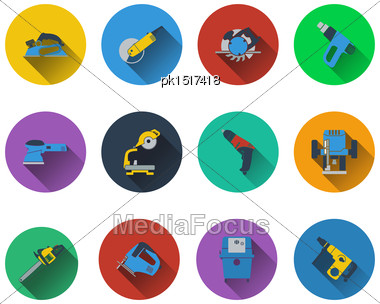 Set Of Electrical Work Tools Icons In Flat Design. EPS 10 Vector Illustration With Transparency Stock Photo