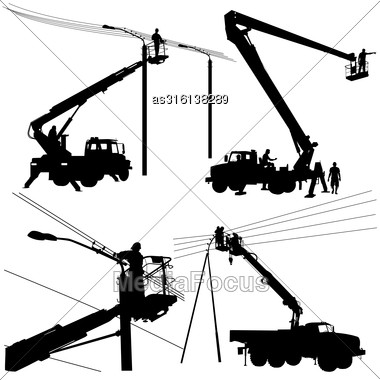 Set Electrician, Making Repairs At A Power Pole. Vector Illustration Stock Photo