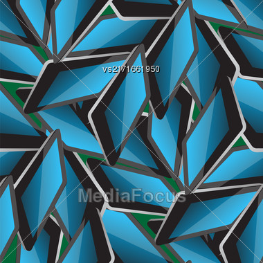Set Of Electronic Tablet On Green Background. Seamless Pattern Stock Photo