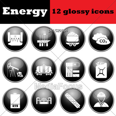 Set Of Energy Glossy Icons. EPS 10 Vector Illustration Stock Photo