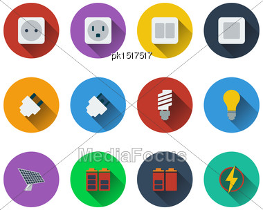 Set Of Energy Icons In Flat Design. EPS 10 Vector Illustration With Transparency Stock Photo