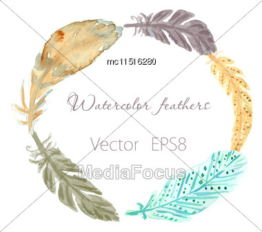 Set Of Ethnic Multicolored Feathers. Ethnic Illustration In Native Style Stock Photo