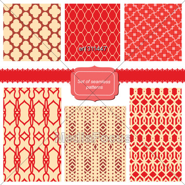 Set Of Fabric Textures With Different Lattices - Seamless Patterns Stock Photo