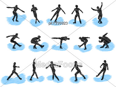 Set Of Figure Skating Grunge Silhouettes. Fully Editable EPS 10 Vector Illustration Stock Photo