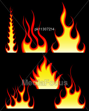 Set Of Fire Vector Icons Stock Photo