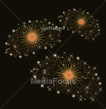 Set Of Fireworks Isolated On Dark Background Stock Photo