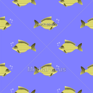 Set Of Fish Isolated On Blue Water Background. Carp Seamless Pattern Stock Photo