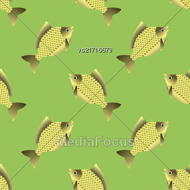 Set Of Fish Isolated On Green Background. Carp Seamless Pattern Stock Photo