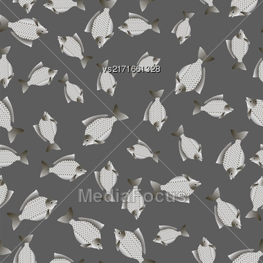Set Of Fish Isolated On Grey Background. Carp Seamless Pattern Stock Photo
