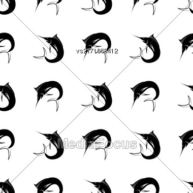 Set Of Fish Isolated On White Background. Marlin Seamless Pattern Stock Photo