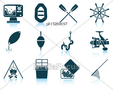 Set Of Fishing Icons. EPS 10 Vector Illustration Without Transparency Stock Photo