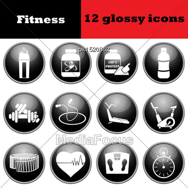 Set Of Fitness Glossy Icons. EPS 10 Vector Illustration Stock Photo