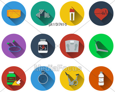 Set Of Fitness Icons In Flat Design. EPS 10 Vector Illustration With Transparency Stock Photo