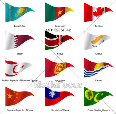 Set Flags Of World Sovereign States Triangular Shaped. Vector Illustration Stock Photo