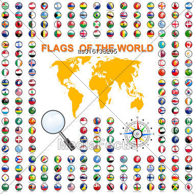 Set Flags Of World Sovereign States. Vector Illustration Stock Photo