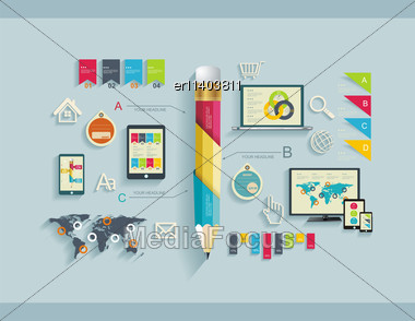 Set Of Flat Design Icons. Can Be Used For Web Design, Seo, Social Media, For Web And Mobile Services And Apps Stock Photo
