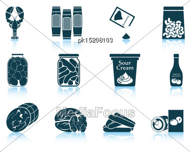 Set Of Food Icons. EPS 10 Vector Illustration Without Transparency Stock Photo