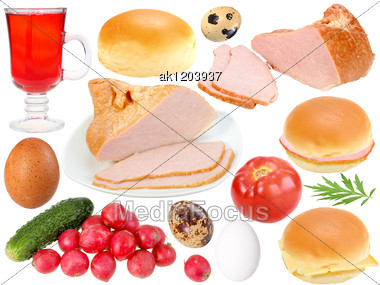 Set Of Food Ingredients Close-up Studio Photography Stock Photo